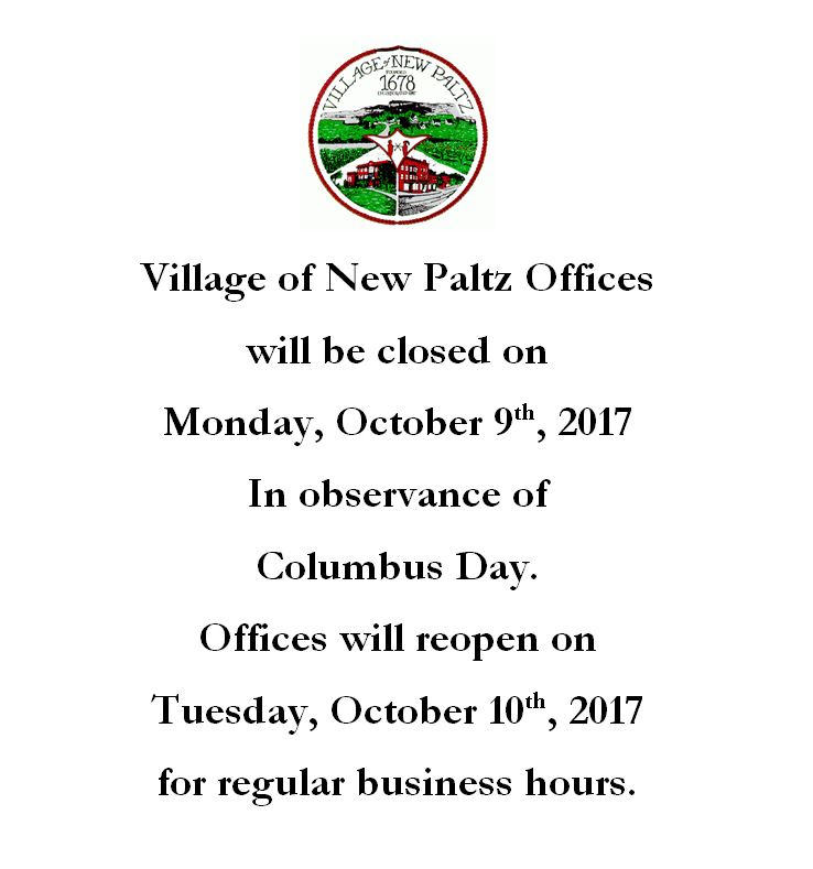 Offices Closed 10 9 17 Village Of New Paltz